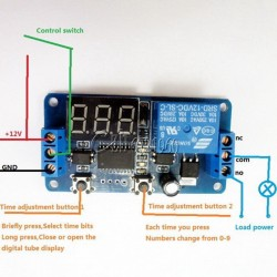 Modul 1 releu cu afisaj LED DC 12V cu timer