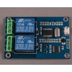 Modul 2 relee 220v comandat prin USB