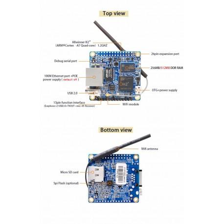 Orange Pi Zero H2 Quad Core Cortex A7 512MB WIFI HDMI