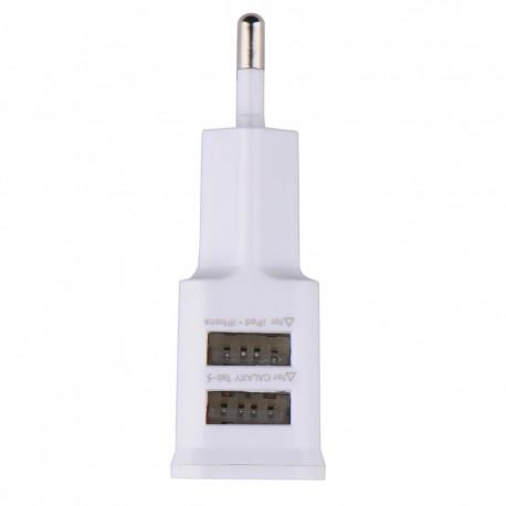 Incarcator priza 220V cu 2 iesiri USB 5v 2A 1A