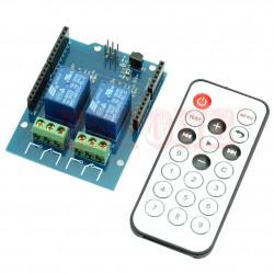 Modul 2 relee cu receiver infrarosu IR si telecomanda 20 taste