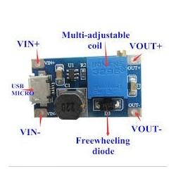 Sursa DC-DC adjustabila 2A MICRO USB 2V-24V la 5V 9V 12V 28V MT3608 LM2577