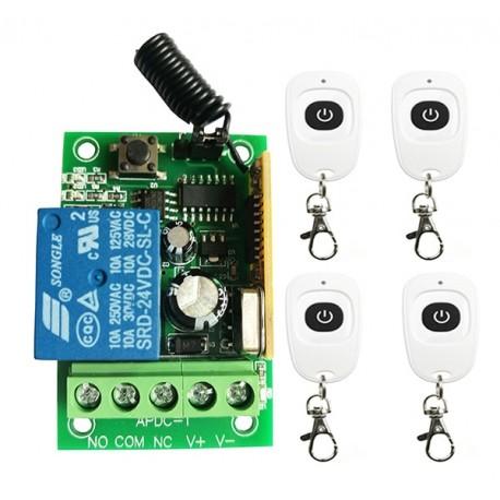 Modul 1 releu cu 4 telecomenzi 12v 220v 10A 315/433 mhz