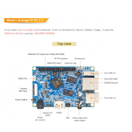 Orange Pi PC2 H5 64bit Quad-core 1GB DDR3 1000Mbps LAN HDMI