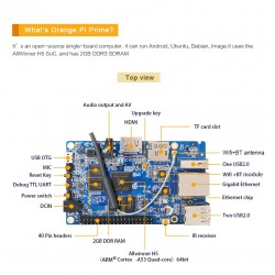 Orange Pi Prime H5 Quad-core 2GB DDR 1GB LAN WIFi Bluetooth HDMI