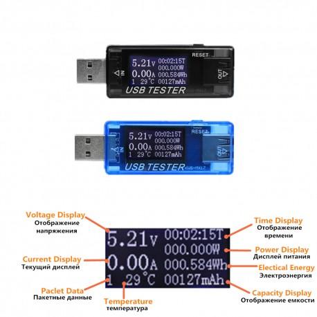 Tester voltaj si amperaj cu ecran OLED si mufa usb 8 in1 4-30V
